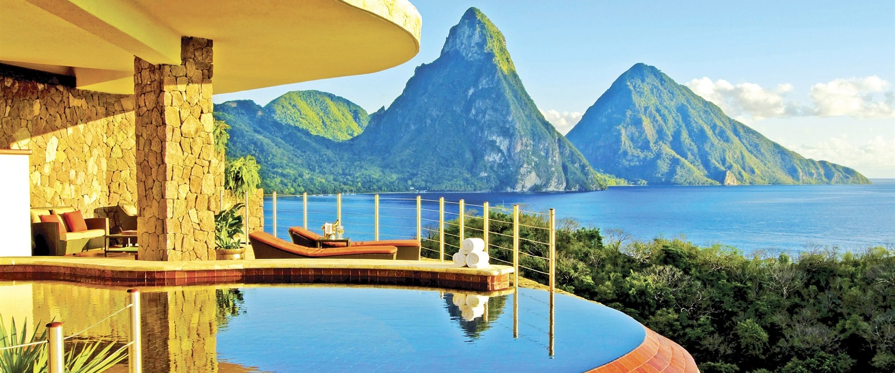 aerial view of jade mountain st lucia