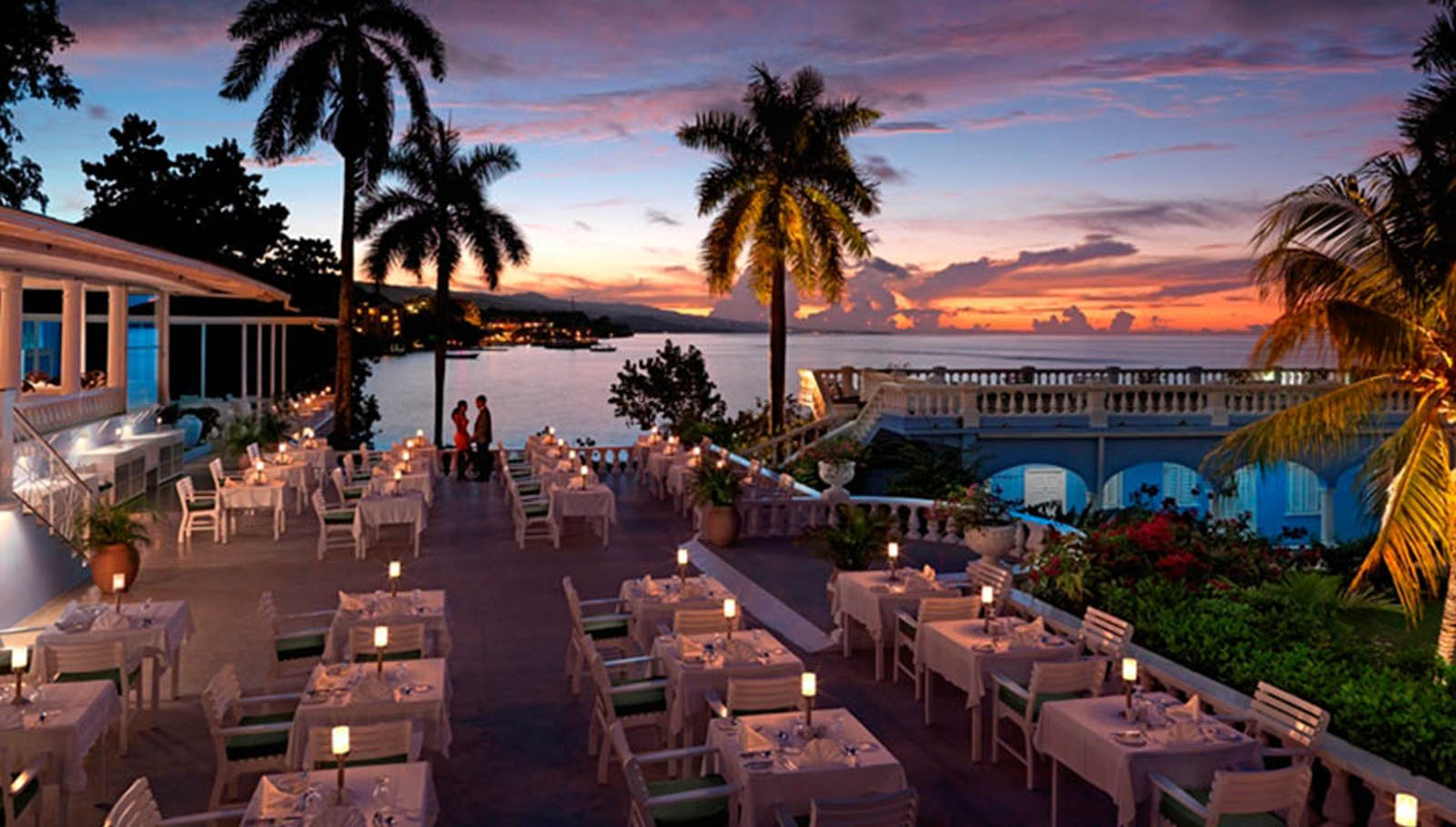 Dine al fresco at the dinner terrace at Jamaica Inn, Jamaica