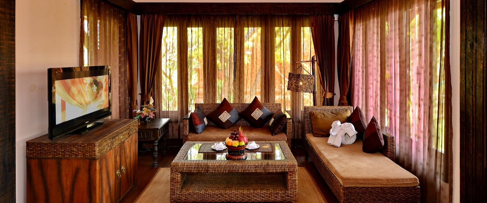 Jasmine villa living room at Aureum Palace Hotel Bagan