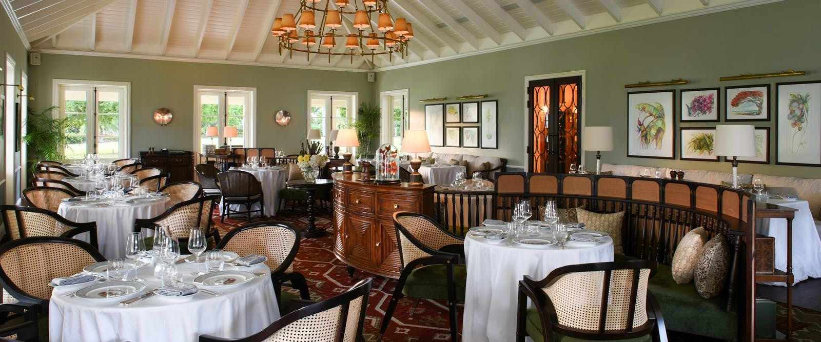 Estate Main House Dining at Jumby Bay Island, Antigua