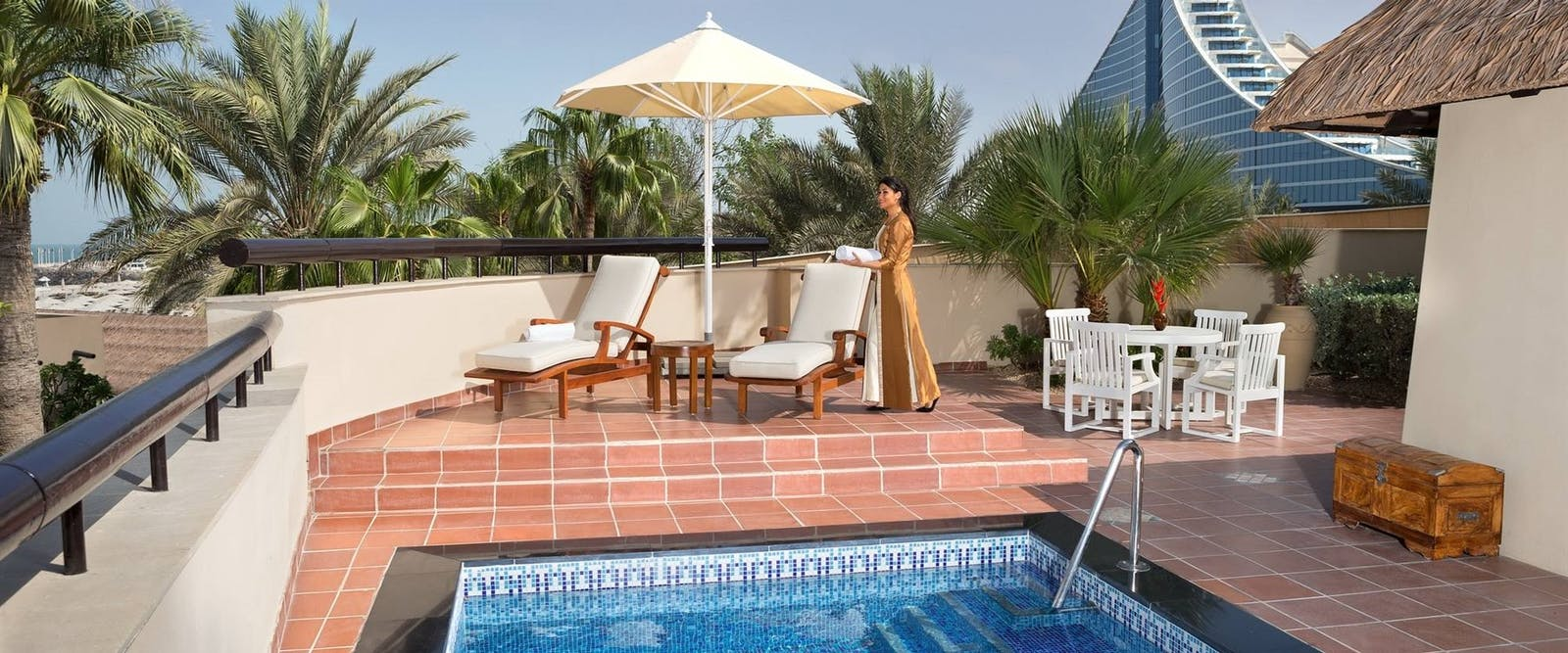 One Bedroom Royal Villa Terrace Day Shot at at Beit Al Bahar Villas, Jumeirah Beach Hotel, Dubai