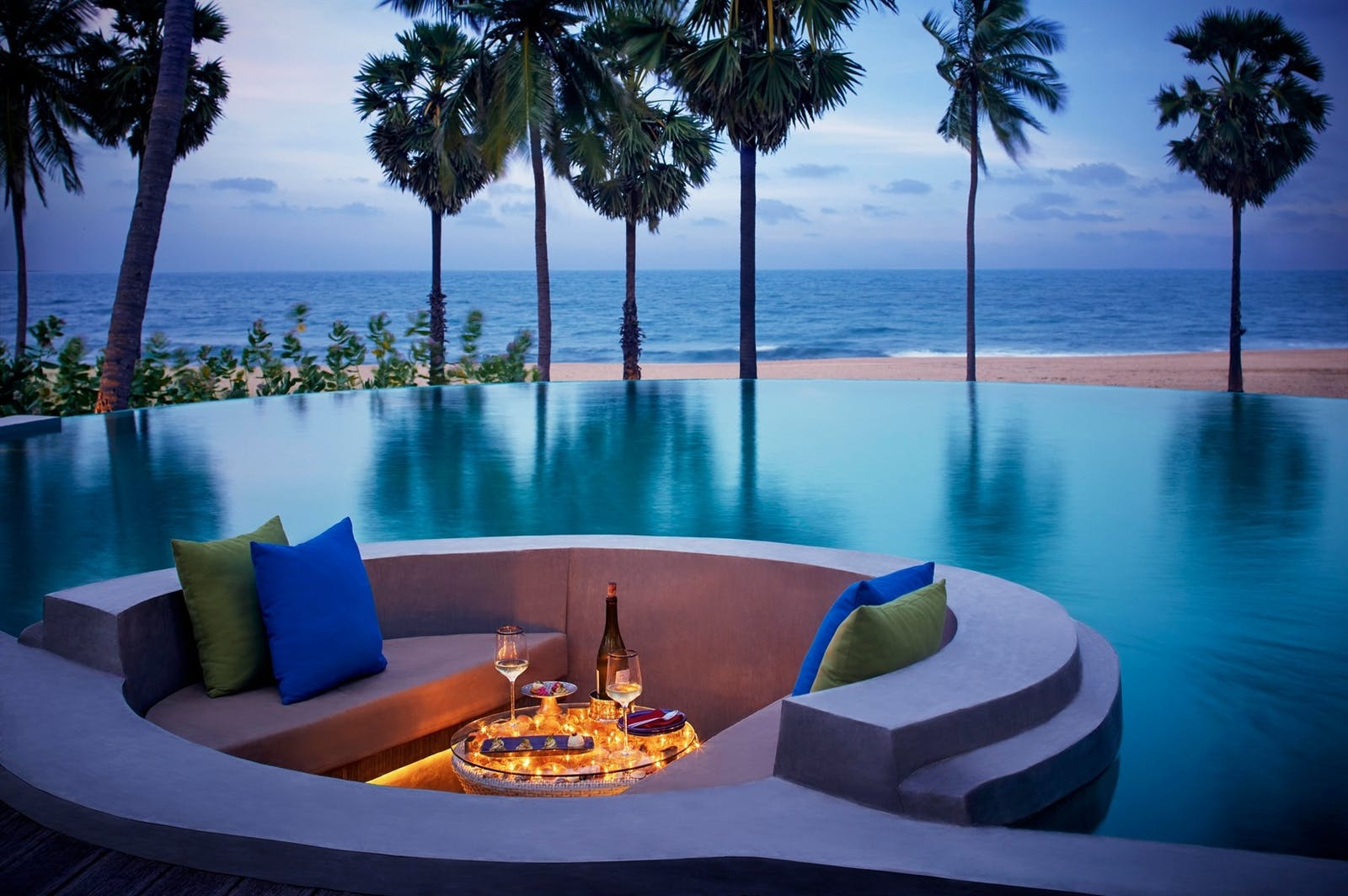 Evening Pool View, Jetwing Surf, East Coast Beaches, Sri Lanka