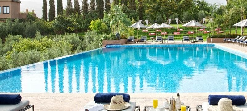 Outside pool at Kasbah Tamadot, Marrakech