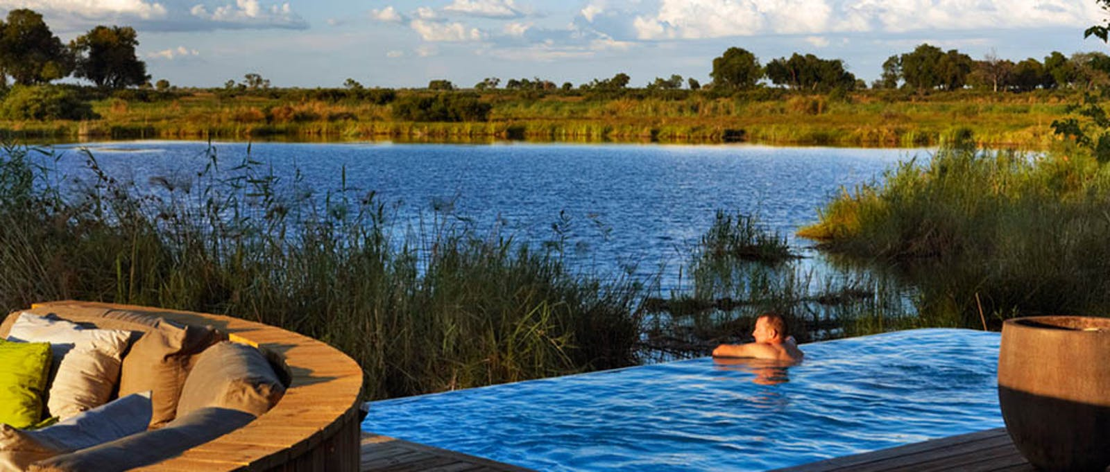 Outside swimming pool at Kings Pool Camp, Botswana