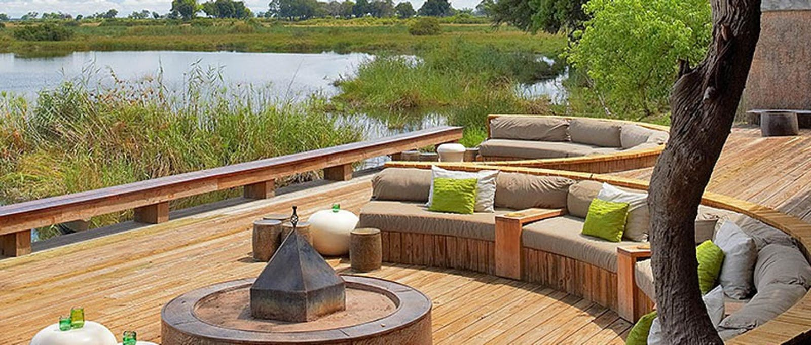 Outdoor lounge area at Kings Pool Camp, Botswana