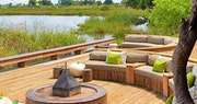 Outdoor lounge area at Kings Pool Camp, Bostwana