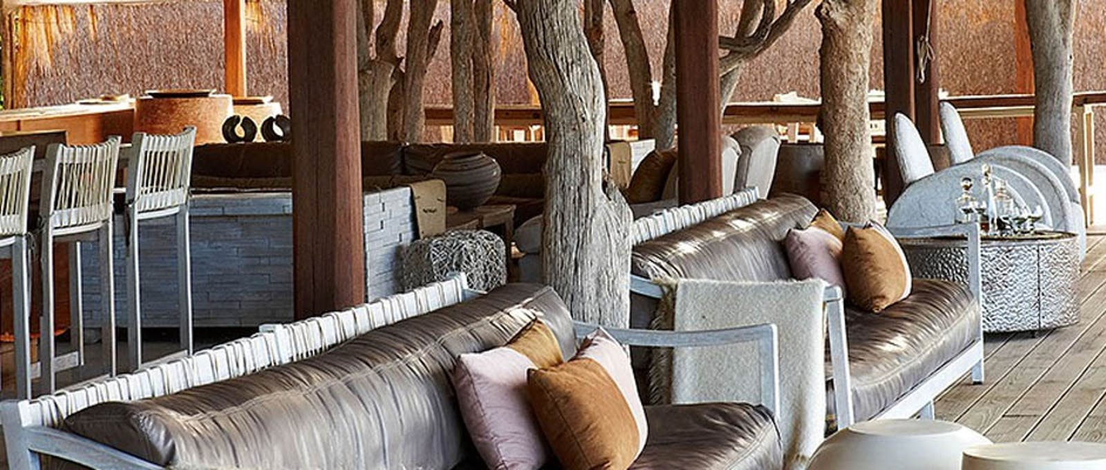 Multi-decked lounge at Kings Pool Camp, Botswana