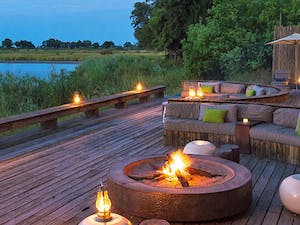 Lagoon view outside lounge area at Kings Pool Camp, Botswana