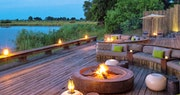 Lagoon view outside lounge area at Kings Pool Camp, Bostwana