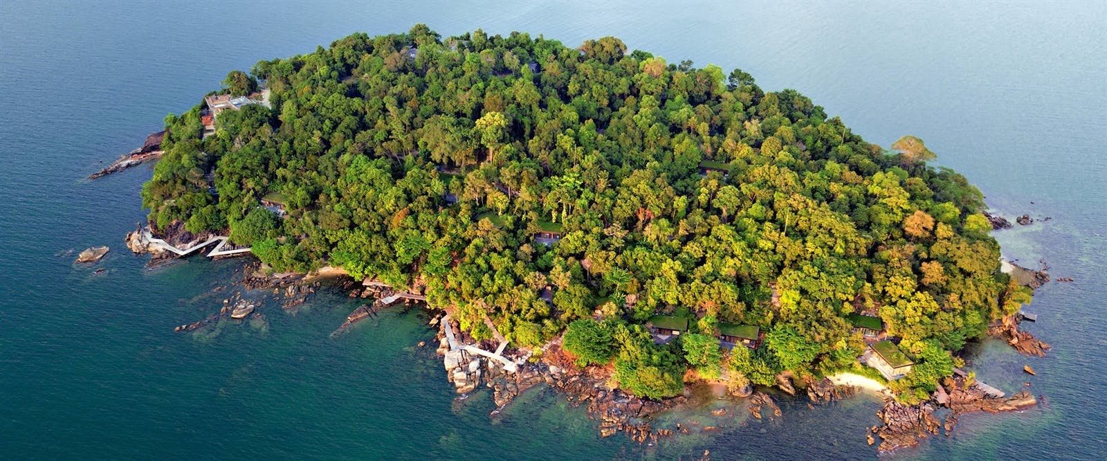 Aerial View of Six Senses Krabey Island, Cambodia