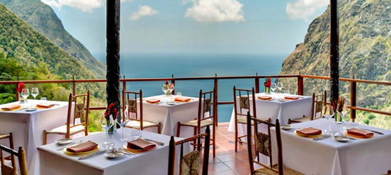 Open air dining at Ladera, St Lucia