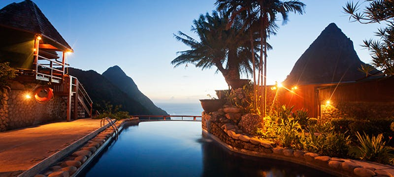 Pool area in the evening at Ladera, St Lucia