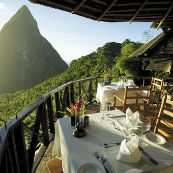 Dining amongst the mountains at Ladera, St Lucia