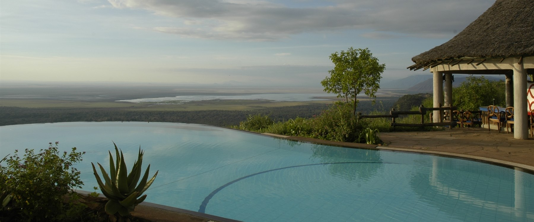 Pool area at Lake Manyara Serena Safari Lodge