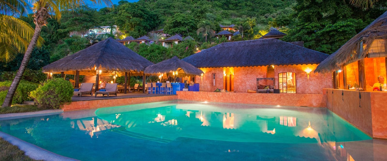 Pool area in the evening at Laluna, Grenada