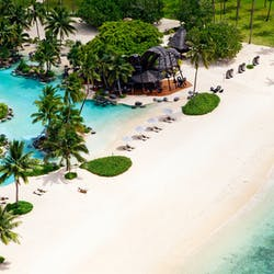 Aerial of Beach at Laucala Island, Fiji
