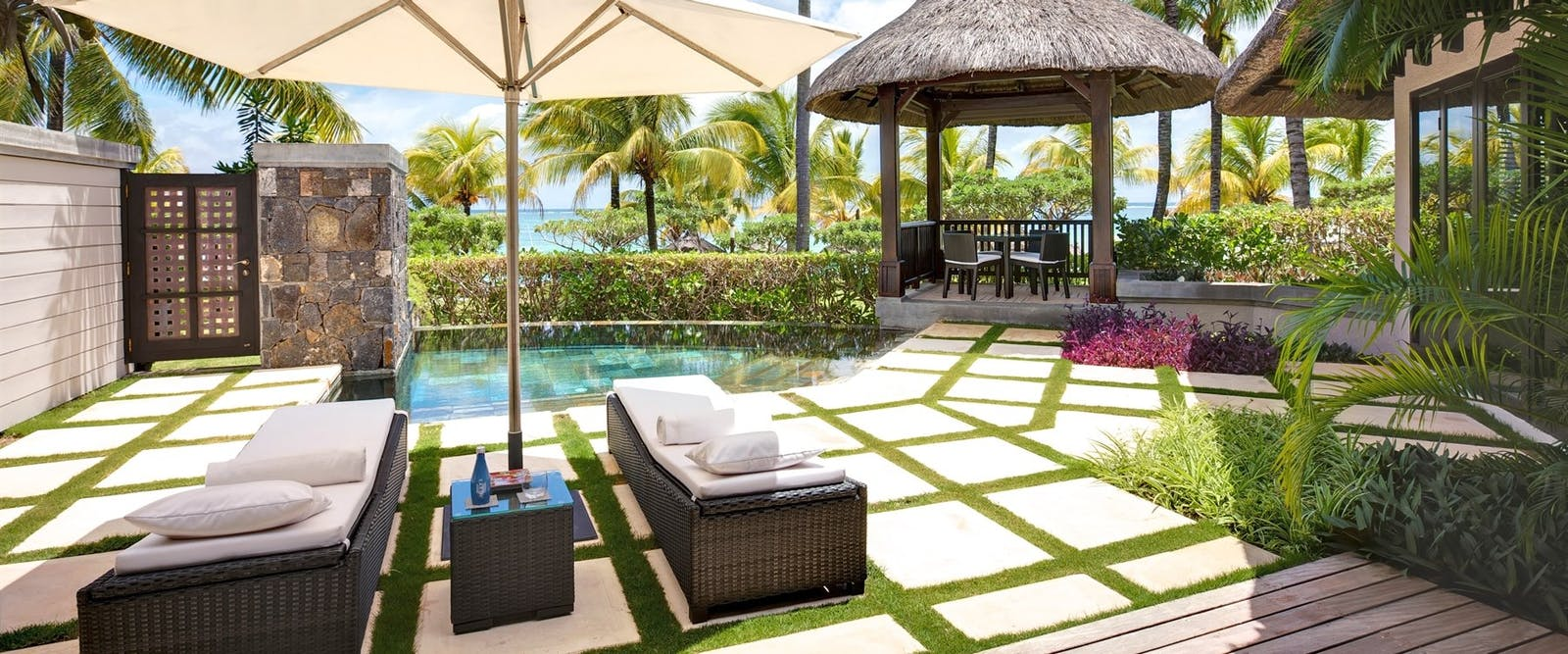 Beachfront Villa Pool at LUX* Belle Mare, Mauritius