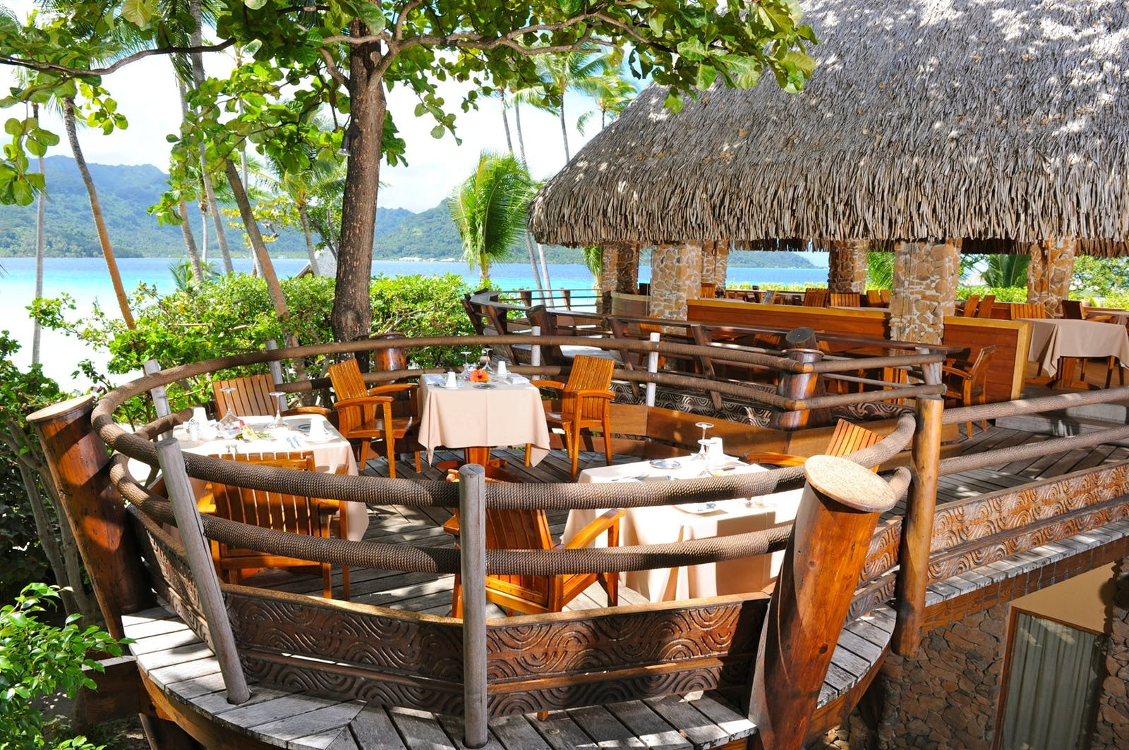 Restaurant at Le Taha'a Island Resort & Spa, Tahiti, French Polynesia