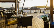 Indigo Restaurant overlooking the pool and ocean at Le Guanahani, St Barths
