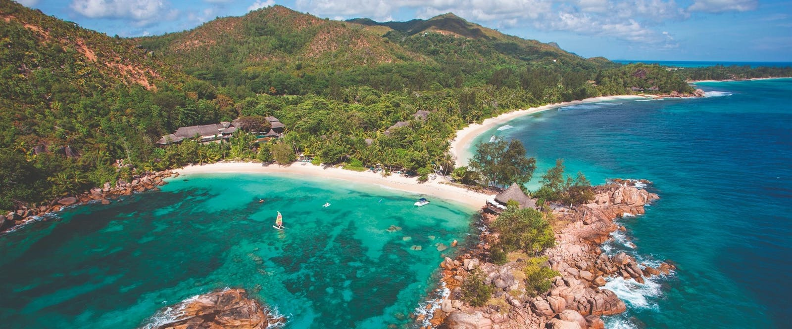 Aerial View of Constance Lemuria Resort, Seychelles