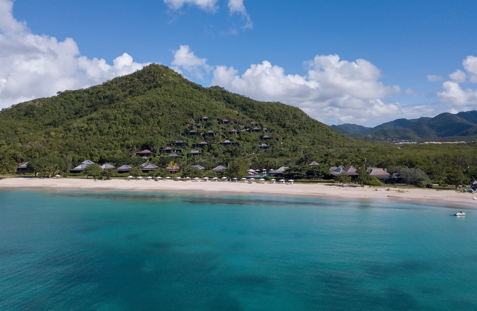 Aerial view, Hermitage Bay, Antigua, Caribbean