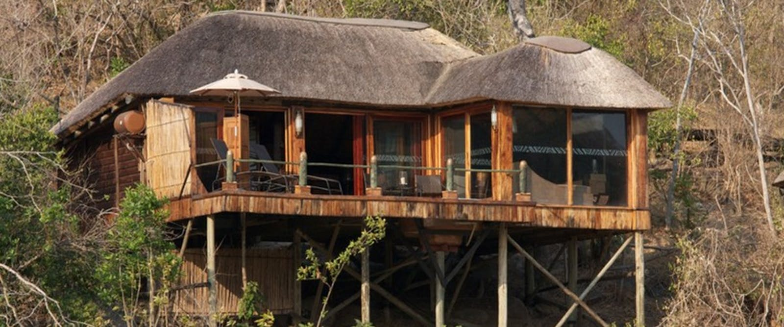 Exterior of chalets at Serena Mivumo River Lodge
