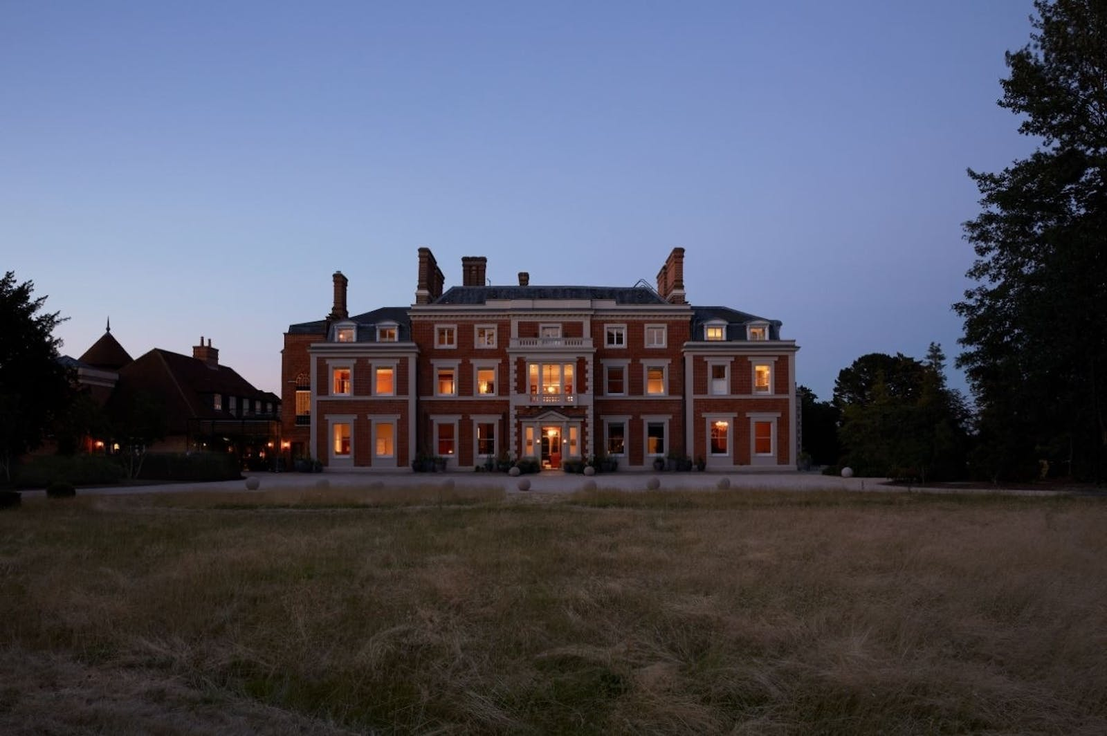 Heckfield Place, Hampshire at night
