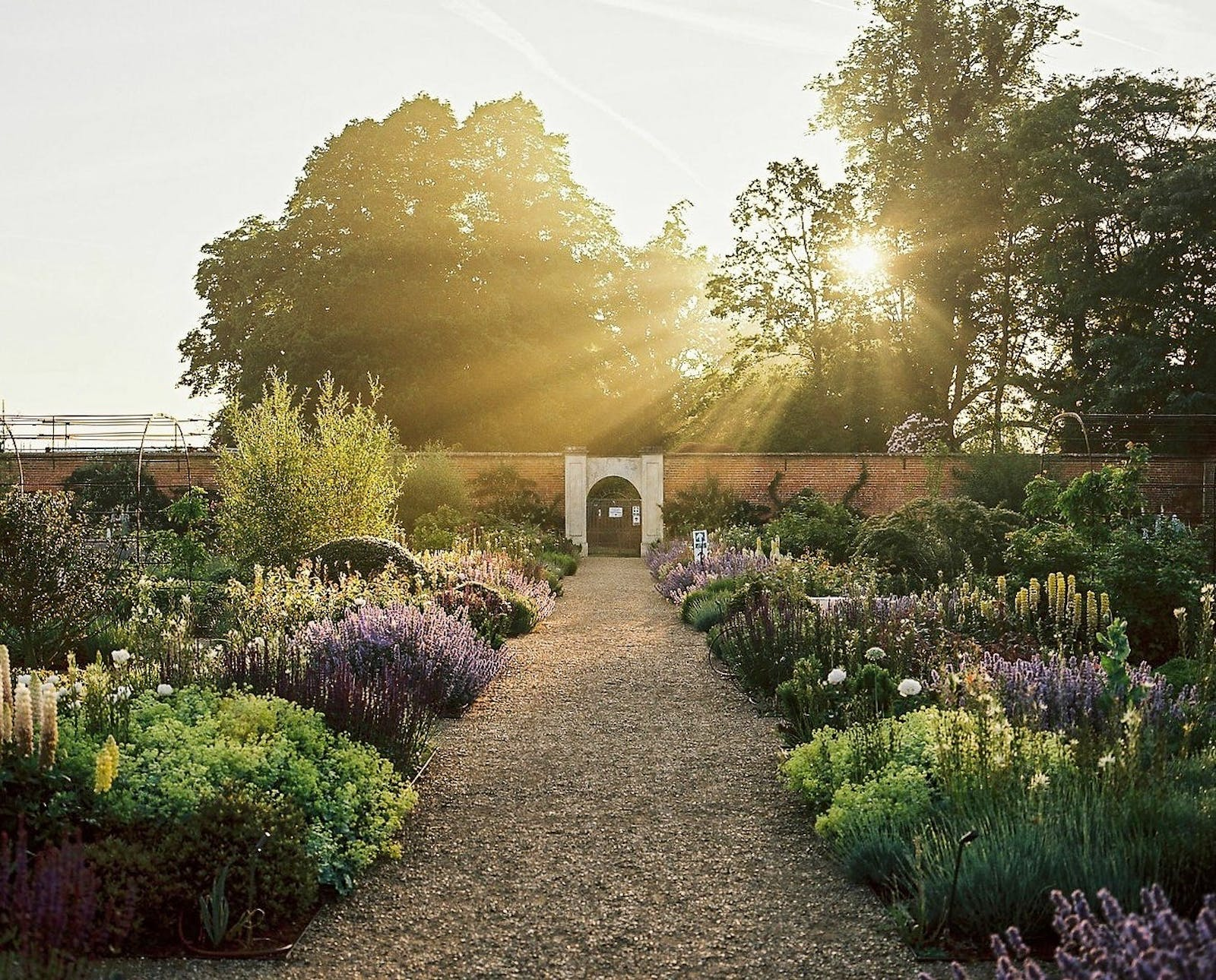 Sunlit gardens at Heckfield Place in Hampshire