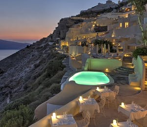 Swimming pool at Mystique, Santorini