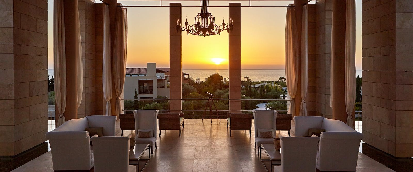 Open Air Lobby at Sunset at The Romanos, a Luxury Collection Resort, Peloponnese, Greece