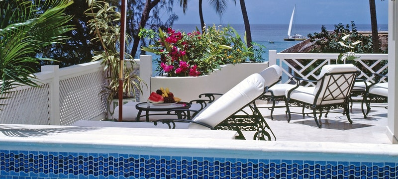 Private terrace within luxury plantation suite at Coral Reef Club, Barbados