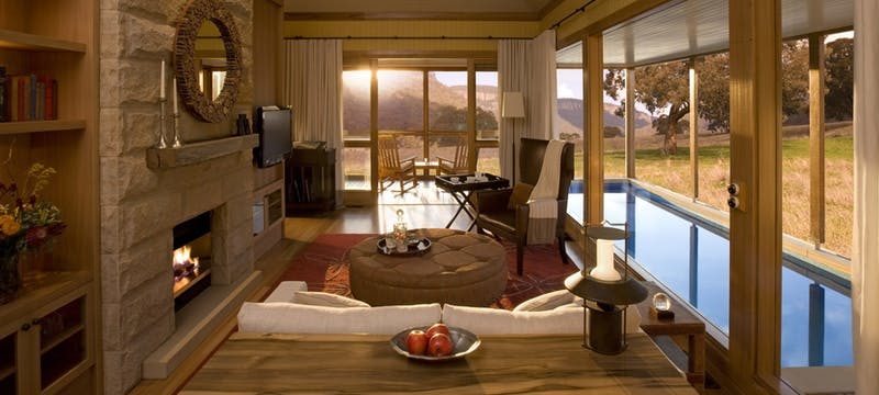 The living room at Emirates One&Only Wolgan Valley, Australia