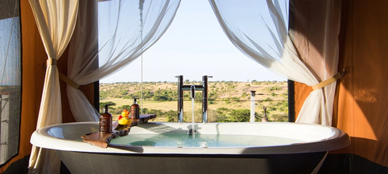 Luxury Tented Suite Bathroom at Mahali Mzuri, Kenya