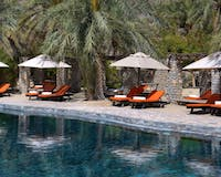 Sun loungers at Six Senses Zighy Bay, Oman