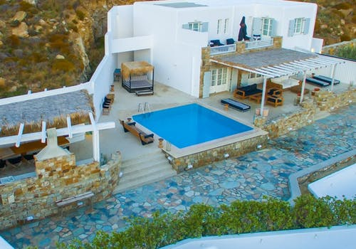 aerial view at myconian villa collection mykonos greece