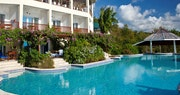 Main pool area and swim up suites at Calabash Cove, St Lucia