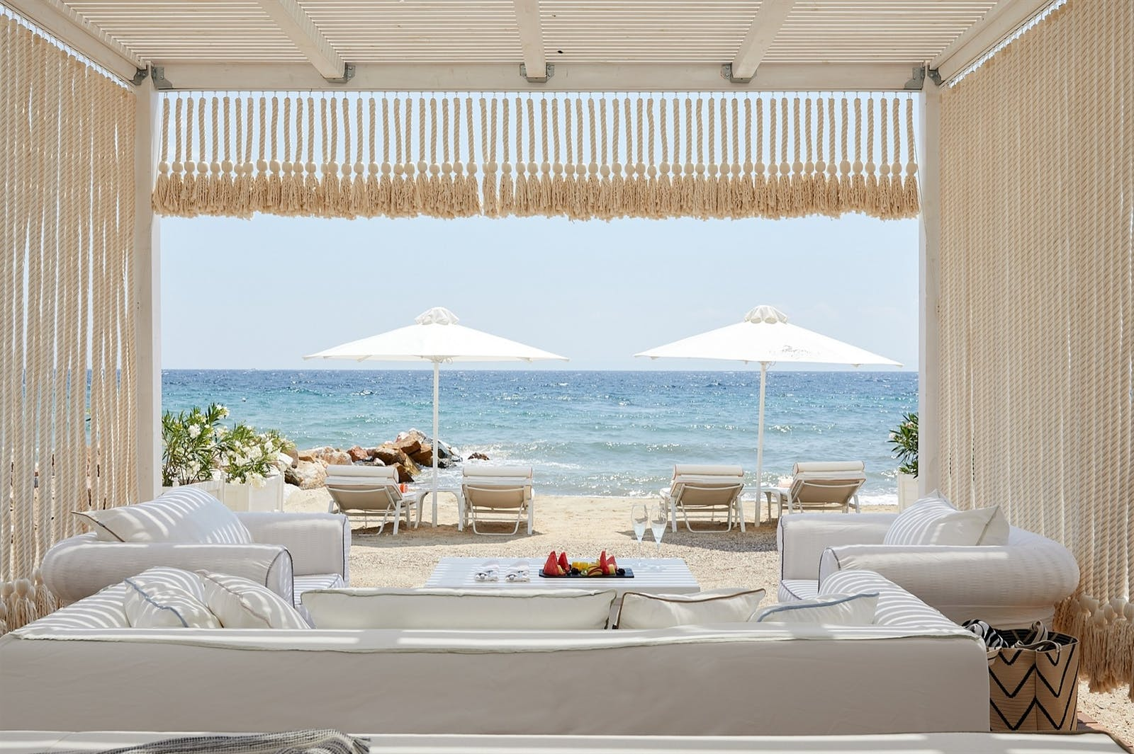 Beach cabanas, Danai Beach Resort & Villas, Halkidiki, Greece