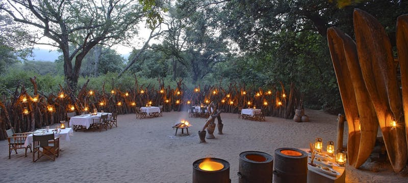 Outdoor dining at &Beyond Lake Manyara Tree Lodge