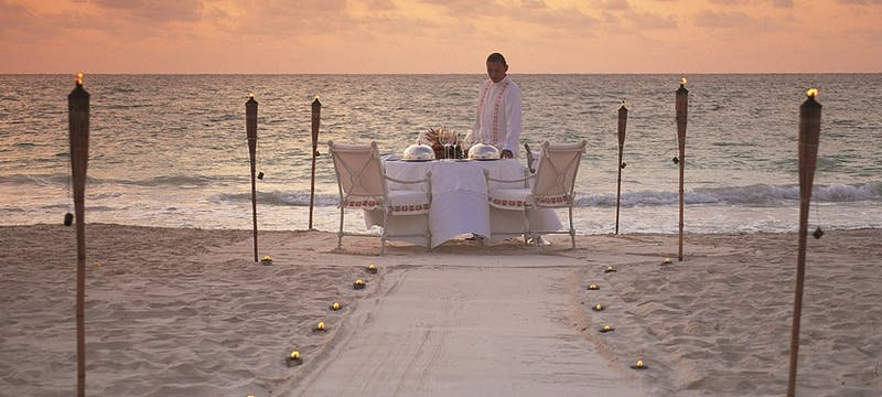 Private dining on the beach at Belmond Maroma Resort & Spa, Riviera Maya, Mexico