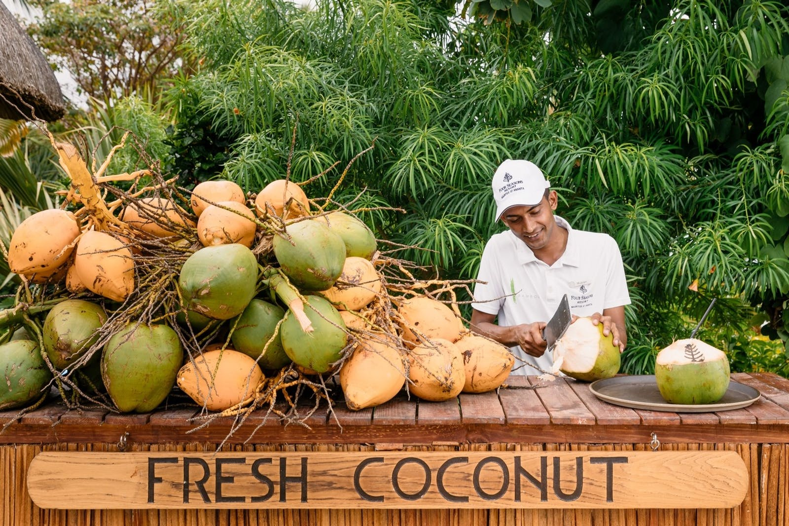 Fresh coconut station, Four Seasons Resort Mauritius at Anahita