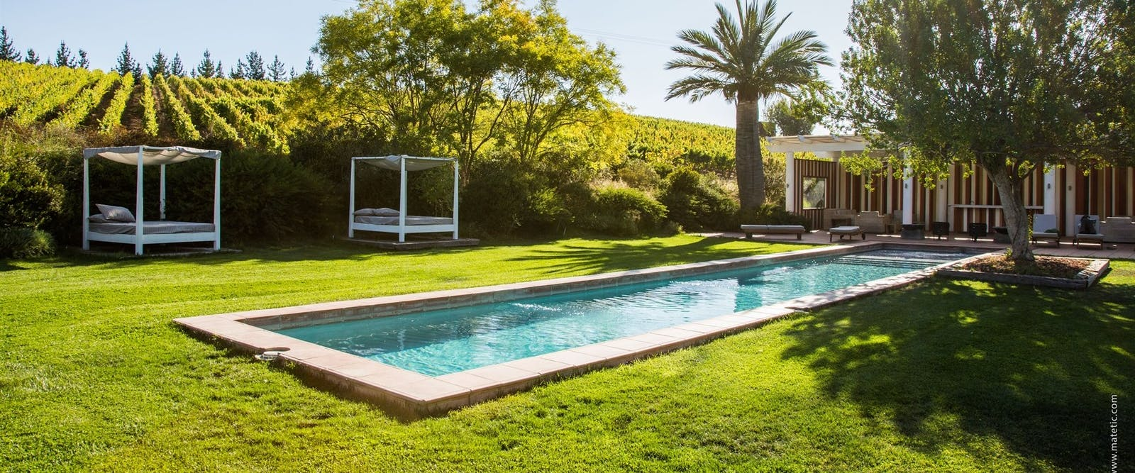 Swimming pool, La Casona of Matetic Vineyard