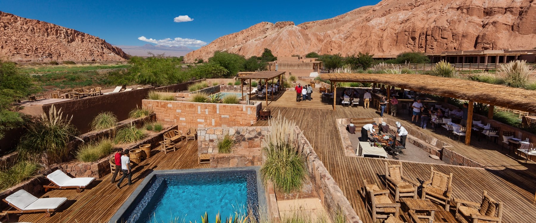 Pool area at alto atacama, Chile