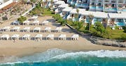 beach cabanas reserved for villa guests at Amirandes Grecotel Exclusive Resort