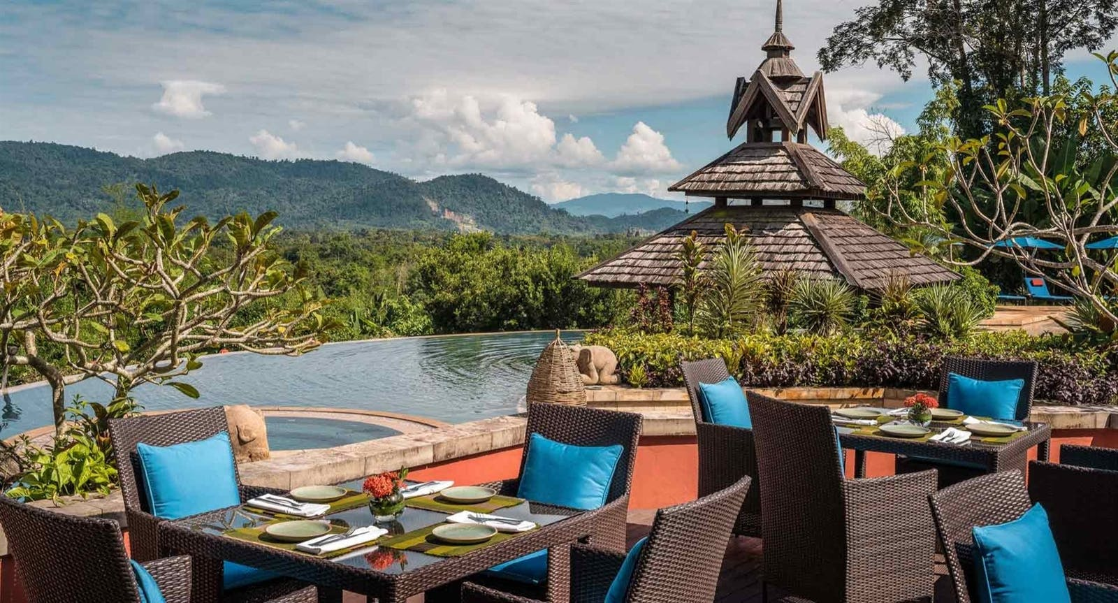 Pool side dining at Anantara Golden Triangle Elephant Camp Resort, Chiang Rai, Thailand, Asia