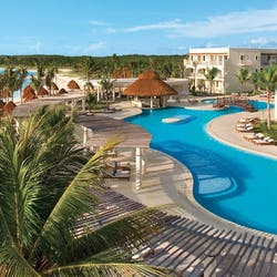 overview of swimming pool resort and beach at dreams tulum