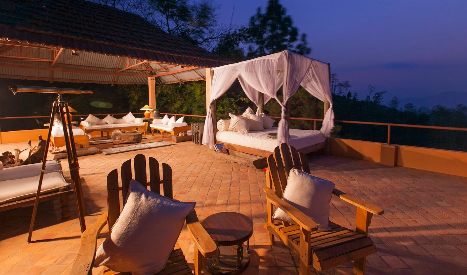 outdoor living space at dwarikas resort dhulikhel