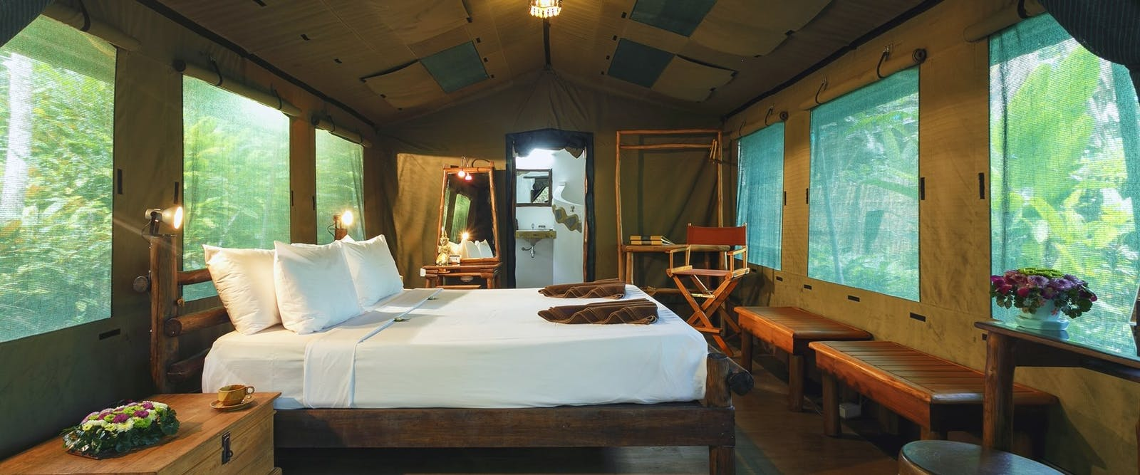 elephant camps tent interior  at Elephant Hills Jungle Safari