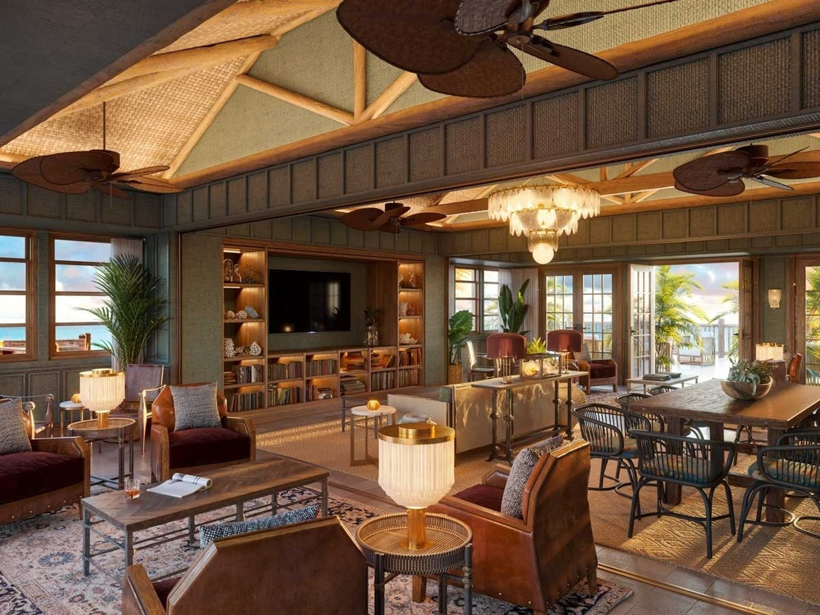 the great room at little palm island resort  spa a noble house resort rendering