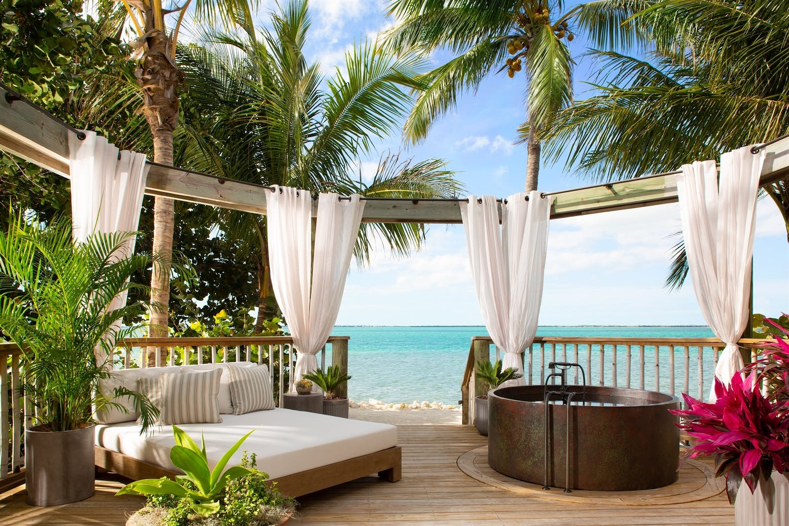 island romance suite balcony at little palm island