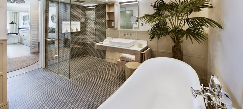 Family room main bathroom at LUX Grand Gaube
